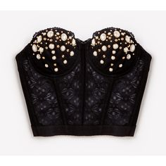 Queen Gold Pearl Studded Lace Bustier ❤ liked on Polyvore