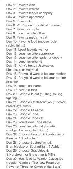 Warrior Cats 30 day challenge
