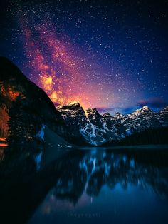 the milky way rising over the valley of the ten peaks, by Engel... #canada #sky…