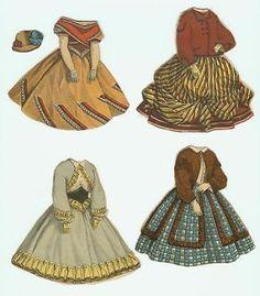 McLoughlin Eugenia Paper Doll, Partial Envelope, 4 Back & Front Dresses, & 1 Hat (03/27/2014)