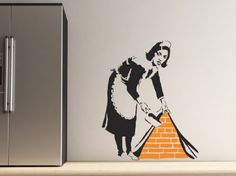 This wall sticker design is inspired by infamous UK graffiti artist Banksy, and is perfect to create a large focal point in any room. The pack contains 1 x large maid 74cm x 88cm.All of our wall decals/stickers are precision cut from our high grade low-tac self adhesive vinyl in the colour and direction of your choice. Supplied with detailed fitting instructions and pre-applied application tape to ensure transfer is made in no time, correctly and with ease.