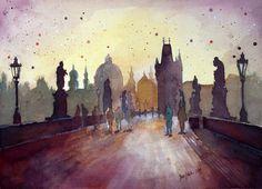 Charles Bridge, Prague, watercolor painting by jane-beata.deviantart.com on @deviantART