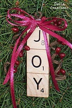 Scrabble Tile Ornament  JOY by DellaCreations on Etsy