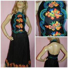 Vintage 70s BOLD Black/multicoloured EMBROIDERED Halterneck backless Mexicana maxi evening dress 8-10 1970s Art Nouveau by HoneychildLoves on Etsy
