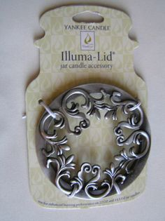 Yankee Candle illuma lid Scroll NEW On Card  #YankeeCandle