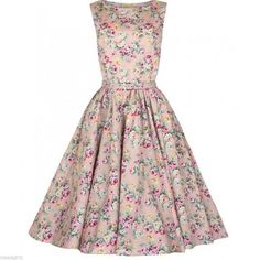 Lindy Bop Vintage 1950 Audrey Hepburn Peach Floral Swing Dress Rockabilly USA 14