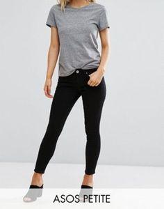 cbd3be92fec1 ASOS DESIGN Petite Whitby low rise skinny jeans in clean black at asos.com