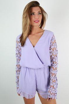 Strolling in Crochet Romper in Lavender