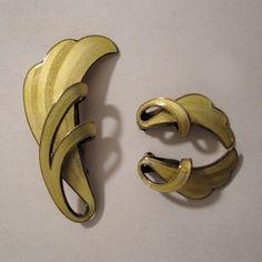 Finn Jensen Norway Sterling Silver Yellow  Enamel Feather Pin and Earrings Set