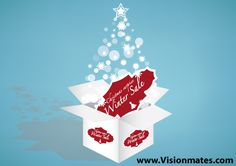 Merry Christmas graphics sale design on sky blue background where u can see white box, Christmas tree made of blurred elements and a sales / discount banner. Great premium Merry Christmas graphics sale design in Adobe Illustrator.