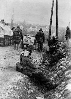 "Volkswagen VW Typ 166 ""Schwimmwagen"" Men from the 3rd. SS-Panzer-Division ""Totenkopf"" ""Deaths-Head"". During Operation ""Konrad"" near the Hungarian city of Szomor  Jan. 20, 1945."