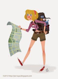 Travel. girl illustration / Viaggiare, vignetta ragazza - Illust. by Jez Tuya