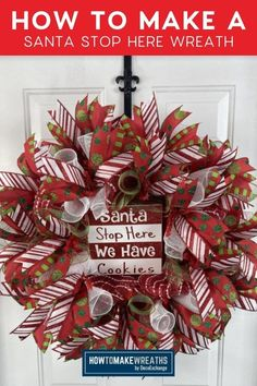 Learn how to make an adorable Santa Stop Here wreath that is perfect for crafting on a budget. This fun Christmas wreath would make a perfect addition to your Christmas front door decor.