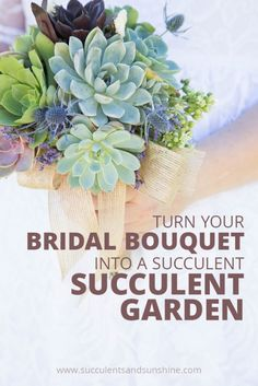 This step-by-step tutorial will help you save your succulent bridal bouquet and make a beautiful container arrangement