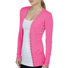 LE3NO Womens Lightweight Fitted Long Sleeve Knit Cardigan ($17) ❤ liked on Polyvore featuring tops, cardigans, pink knit cardigan, pink knit top, light weight cardigan, lightweight cardigan and fitted tops