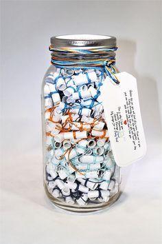 365 Message Filled 64 oz Mason Jar Personalized Multi-Colored