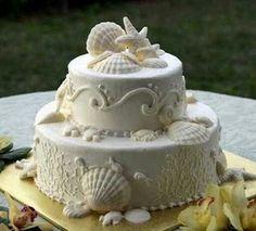 Two tier beach wedding cake