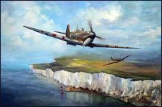 Spitfires over the Cliffs of Dover Ww2 Fighter Planes, Ww2 Planes, Fighter Aircraft, Fighter Jets, Navy Aircraft, Ww2 Aircraft, Military Aircraft, Airplane Painting, Airplane Art