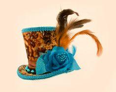 Burlesque, Gothic, Steampunk, Bachelorette, Showgirl, Mad Hatter, Alice in Wonderland, Fascinator, Derby hat,  Mini Top Hat