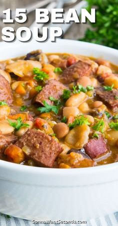 *NEW* Grandma's Easy Old Fashioned Recipe for 15 Bean Soup is perfect for cool winter nights. Warm, Thick and Hearty with a punch of smoky flavor in every bite! #15beansoup #beansoup #soup #beans #comfortfood