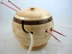 New Lidded Wooden Knitting And Yarn Bowl, Walnut Rim, Lathe Turned, As Seen In…