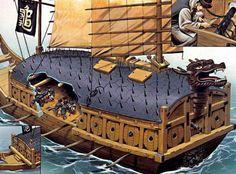 Un barco tortuga. Nótese la cubierta única, para remeros y artilleros. Fuente: TURNBULL, Stephen; REYNOLDS, Wayne, Fighting Ships of the Far East (2) - Japan and Korea AD 612-1639. Oxford, Osprey Publishing, 2003, pp. 28-29.