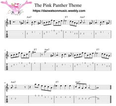 The Pink Panther Theme - Easy Guitar Tab Guitar Acoustic Songs, Guitar Tabs And Chords, Easy Guitar Tabs, Music Theory Guitar, Easy Guitar Songs, Guitar Chords For Songs, Guitar Sheet Music, Music Chords, Ukulele Fingerpicking Songs