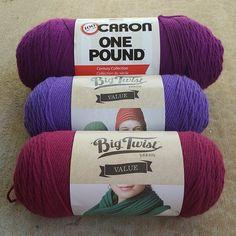 hollyhock, blueberry, and deep rose acrylic yarn, crochetbug, purple, yarn stash