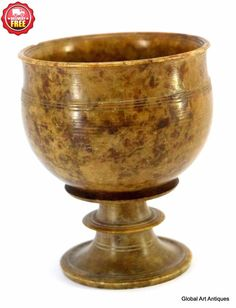 18c Old Rare Indian Hand Carved Antique Stone Glass collectible Pot.G38-17