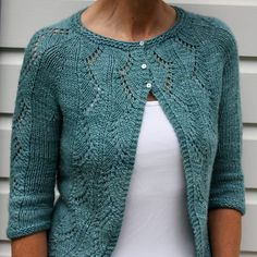 Vine Bolero by Emily Johnson malabrigo Silky Merino, Green Gray.