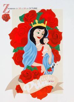 Cartel Finalista Pilar 2015 Titulo: La Reina de las Flores. Autora: Ester Pérez Martínez