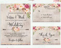 Floral Wedding Invitation Printable Wedding di PreppyDigitalArt
