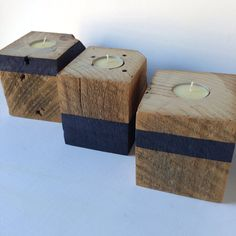 Rustic reclaimed block wood tea candle holder - set of 3 - grey / gray milk paint stripes - men's gift set