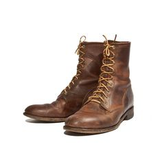 Men's Lace Up Ankle Roper Boot Brown Leather Justin Boots for a Size 9 1/2 D. $98.00, via Etsy.