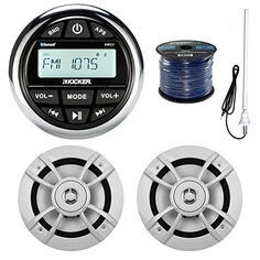 Kicker KMC2 Marine Boat Yacht Gauge Style AMFM Radio Stereo Receiver Bundle Combo With 2x Kenwood 65Inch 100 Watt Speaker  Enrock Radio Antenna  50 Feet Speaker Wire *** Want to know more, click on the image.