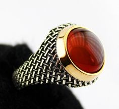 Sterling silver men ring, agate naturel stone. on Etsy, $70.62 CAD