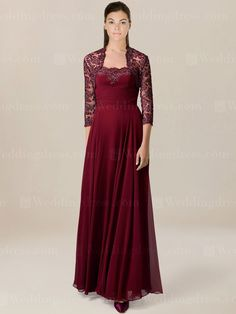 Chiffon mother of the bride dress features embroidered lace on top bodice with ruching. Floor length skirt is pleated. Matching Lace bolero jacket with 3/4 length sleeves is optional. Available in 60 colors, shown in Claret.