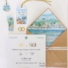 Casamento na praia Convite de casamento na praia Casar na praia Convite aquarela