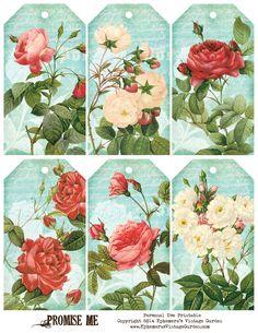 Ephemera's Vintage Garden: Free Printable - Vintage Rose Hang Tags