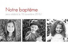 Faire part baptême (baptism card) : Contemporain 3 photos - by Marianne Fournigault pour http://www.fairepartnaissance.fr #bapteme #baptism