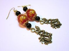 Dragon Earring Long Oriental Style Dangles Gold Dragon Charms Oriental Beads Black Accent Beads Gift For Her JEWELRY allyouneedisbeads. Red Jewelry, Luxury Jewelry, Jewelry Gifts, Beaded Jewelry, Vintage Jewelry, Handmade Jewelry, Women Jewelry, Jewellery, Fashion Jewelry