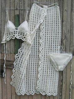 crochet Sarong Crochet Pareo B Crochet Lingerie, Bikini Crochet, Beach Crochet, Crochet Baby, Knit Crochet, Crochet Clothes, Diy Clothes, Mode Du Bikini, Mode Crochet