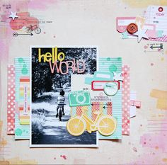 Hello World by Lilith E. at Studio Calico...love the embellie cluster on top right