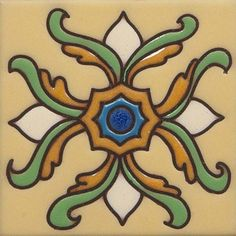 From the California Revival Collection, Armena Drop-in, Hand Painted Ceramic Tile Designed by Susanne Kibak Redfield, at Tango Tile