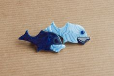 Vintage Lea Stein Brooch : double fish pin