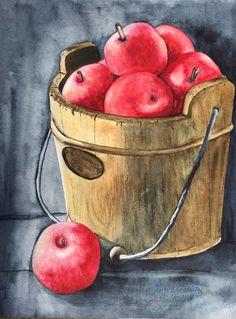 """""""Apples So Delicious"""", 9""""x12"""". original watercolor by Sharon Moran"""