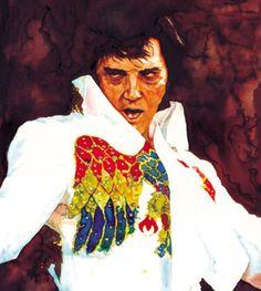 """Elvis 70's"" Elvis Presley - Rock - mixed media - 14x28 inches - Original art by Marcelo Neira"