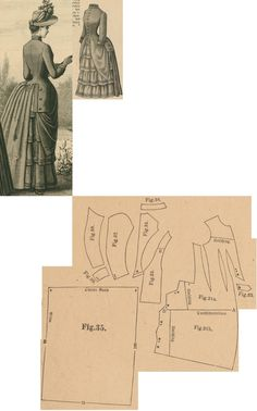 Der Bazar 1888: Greyish-blue walking dress; 31. front part, 32. belt, 33. side gore, 34. bodice's back part, 35. skirt's back part, 36. collar in half size, 37. and 38. sleeve parts, 39. cuff in half size