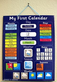 **She has lots of other good ideas and links to supplies- Oriental Trading Company! LOVE this calendar! Daily School Calendar from Oriental Trading Company Preschool Classroom, Preschool Learning, Preschool Activities, Teaching, Home School Preschool, Days Of The Week Activities, Kindergarten Schedule, Differentiated Kindergarten, Homeschool Preschool Curriculum