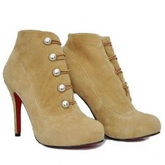 Discount Christian Louboutin Booties Fifre Corset Suede Camel [CL201300744] - $150.50 : Christian Louboutin shoes on sale, christianloubouti...